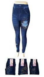 48 Bulk Womens Jean Look Jeggings Tights Slimming Spandex Leggings Pants Capri