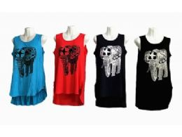 48 Bulk Sleeveless Basics Tunic Round Neck Swing Flowy Long Tank With Elephant