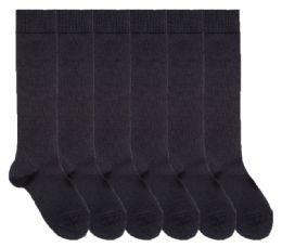 6 Bulk Yacht & Smith Womens Knee High Socks, Size 9-11 Solid Navy