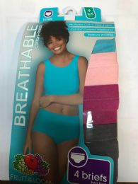 240 Bulk Fruit Of The Loom Women's Full Size Brief Breathable Cotton Mesh
