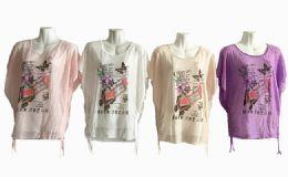 48 Bulk Womens Short Sleeve High Low Loose T Shirt Basic Tee Tops