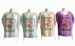 48 Bulk Womens Short Sleeve High Heel Loose T Shirt Basic Tee Tops