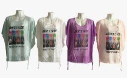 48 Bulk Womens Short Sleeve Guitar Loose T Shirt Basic Tee Tops
