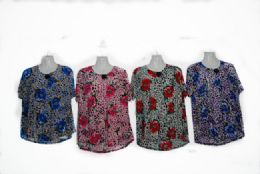 48 Bulk Womens Blouse Short Sleeve Floral Print T Shirt Comfy Casual Tops For Women