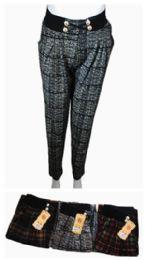48 Bulk Womens Plaid Fashion Pants