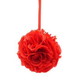 36 Bulk Six Inch Pom Flower Silk Red