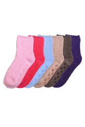 120 Bulk Solid Color Ladies' Fuzzy Socks With Anti Skid Assorted