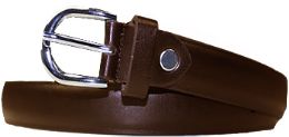 36 Bulk Kids Genuine Leather Fashion Belts In Brown