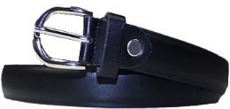 36 Bulk Kids Genuine Leather Fashion Belts In Black