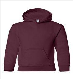 24 Bulk Youth Gildan Irregular Maroon Color Hooded Pullover, Size Small