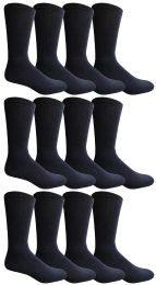 12 Bulk Yacht & Smith King Size Men's Cotton Terry Cushioned Crew Socks Size 13-16 Navy