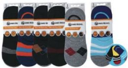 48 Bulk Mens No Show Loafer Socks Size 10-13 Assorted Prints, Priced Per Pair