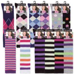 120 Bulk Womens 9-11 Assorted Color And Prints Knee High Uniform Socks