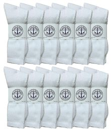12 Bulk Yacht & Smith King Size Men's Cotton Terry Cushion Crew Socks, Sock Size 13-16 White