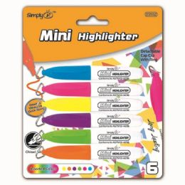 144 Bulk Six Count Mini Highlighters Markers With Clips