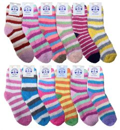12 Bulk Yacht & Smith Women's Fuzzy Snuggle Socks , Size 9-11 Comfort Socks Assorted Stripes