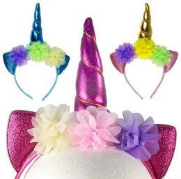 12 Bulk Sparkly Flowered Unicorn Horn Headbands