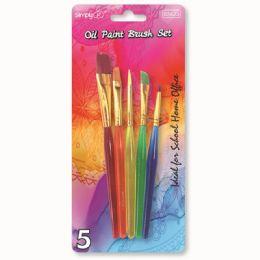 96 Bulk Five Piece Oil Paint Brush Set