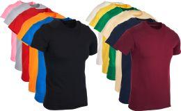 12 Bulk Mens Cotton Crew Neck Short Sleeve T-Shirts Mix Colors, Large