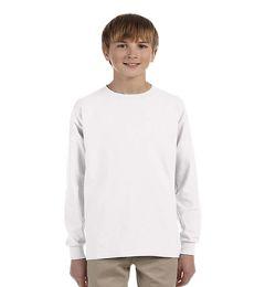 24 Bulk Youth White Long Sleeve T-Shirt, Size Large