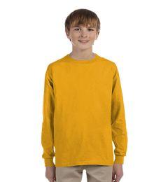 24 Bulk Youth Gold Long Sleeve T-Shirt, Size Medium