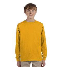 24 Bulk Youth Gold Long Sleeve T-Shirt, Size Xlarge