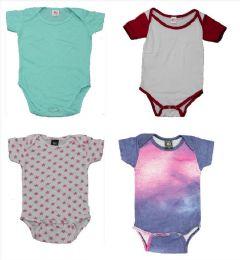 24 Bulk Infant Assorted Design & Color Onesie, Size M