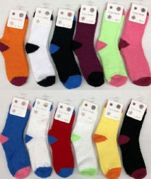 120 Bulk Women Solid Color Fuzzy Socks Size 9-11