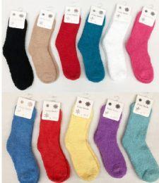 180 Bulk Women Solid Color Fuzzy Socks Size 9-11