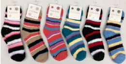 180 Bulk Women Stripe Color Fuzzy Socks Size 9-11