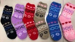 120 Bulk Women Fashion Print Pattern Fuzzy Socks Size 9-11