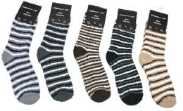 180 Bulk Mens Stripe Color Fuzzy Socks