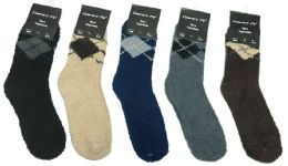180 Bulk Mens Argyle Color Fuzzy Socks