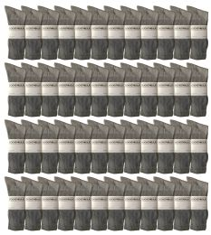 48 Bulk Yacht & Smith King Size Men's Cotton Terry Cushion Crew Socks Size 13-16 Gray