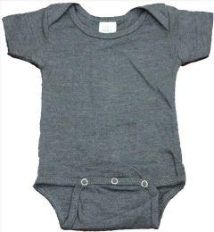 24 Bulk Infant Dark Heather Grey Cotton Onesie, Size S