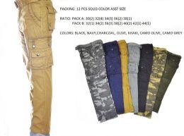 12 Bulk Men's Fashion Cargo Pants 100% Cotton Size Scale B Only