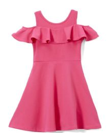 6 Bulk Girls Fuchsia Soft And Stretchy Neoprene Dress, Size 4-6x