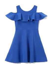 6 Bulk Girls Royal Blue Soft And Stretchy Neoprene Dress, Size 4-6x