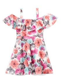 6 Bulk Girls Fuchsia Flower Print Dress In Size 7-14