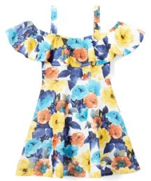 6 Bulk Girls Flower Print Dress In Size 7-14