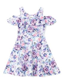 6 Bulk Girls Lilac Flower Print Dress In Size 7-14