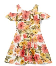 6 Bulk Girls Coral Flower Print Dress In Size 7-14