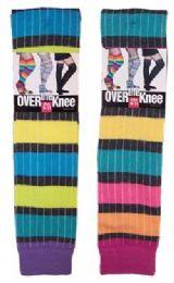 60 Bulk Women's Over The Knee Rainbow Stripe Socks
