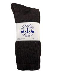 24 Bulk Yacht & Smith Men's Cotton Terry Crew Socks Size 10-13 Brown Bulk Pack