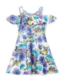 6 Bulk Girls Teal Flower Print Dress In Size 7-14