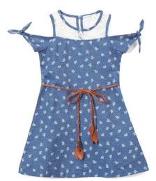 6 Bulk Girls' Indigo Jean Dress In Size 4-6x