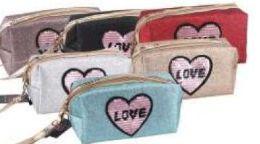 """24 Bulk """" Love"""" Cosmetic Bag"""