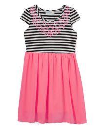 6 Bulk Girls' Neon Pink Chiffon Dress In Size 4-6x