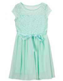 6 Bulk Girls' Mint Chiffon Dress In Size 7-14