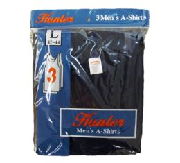 72 Bulk Mens Cotton A Shirt Undershirt Solid Black Assorted Sizes